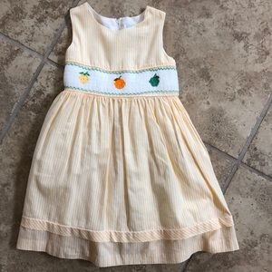 Yellow Smocked Lined Dress, Size 3/4